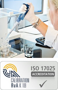 Accredited calibration and repair of pipettes to ISO 8655