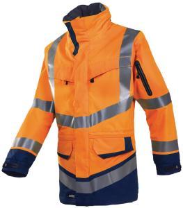 High visibility rain jacket, Windsor 708Z, hi-vis orange/dark blue