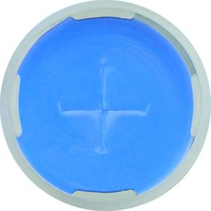 Snap ring closure, N 11, PE(hard),tr.,centre hole,silicone w./PTFE blue,cross-slit,1,0 mm