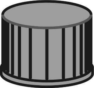 Screw closure, N 8, PP, black, closed top, Red Rubber/FEP colour, 1,3 mm