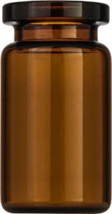 Crimp neck vial, N 20, 20,5×38,0 mm, 5,0 ml, flat bottom, flat neck, amber