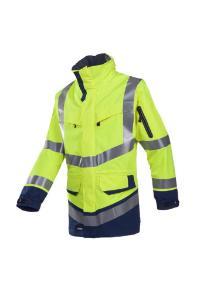 High visibility rain jacket, Windsor 708Z, hi-vis yellow/dark blue