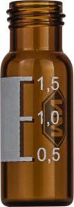 Screw neck vial, N 9, 11,6×32,0 mm, 1,5 ml, label, flat bottom, amber, silanized