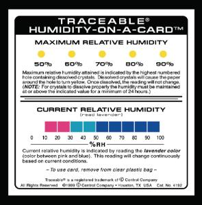 Analogue hygrometer, humidity-on-a-card™, Traceable®